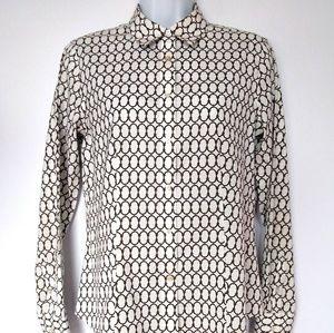 Talbots Women's Size 2 Black White Button Up Shirt
